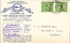 (Australia) First Australian rocket, SS 'Canonbar' to Brisbane, blue/light grey souvenir cover franked 2d, Queensland AMS guarantee hs on front, also verso tying maroon/white Rocket Fight vignette.