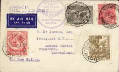 """(Australia) First official airmail,Australia-Papua & Papua-Australia, Toowoomba to Port Moresby, bs 26/7, then Papua 8d stamps applied and returned to Brisbane 31/7,  circular Australia-Papua and New GuineaNZ-Australia (June 1934), violet circular """"Australia/Papua and New Guinea"""" cachet on front,  and purple hexagonal """"papua/Australia"""" cachet verso. Note June rather than July depart postmark."""