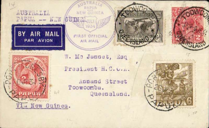 "(Australia) First official airmail,Australia-Papua & Papua-Australia, Toowoomba to Port Moresby, bs 26/7, then Papua 8d stamps applied and returned to Brisbane 31/7,  circular Australia-Papua and New GuineaNZ-Australia (June 1934), violet circular ""Australia/Papua and New Guinea"" cachet on front,  and purple hexagonal ""papua/Australia"" cachet verso. Note June rather than July depart postmark."