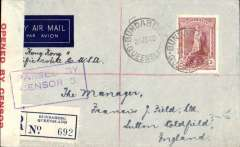 """(Australia) Wartime airmail, first acceptance of mails by the new air route from Australia to England via Hong Kong and the Pacific route, Brisbane to England, bs Sutton Coldfield 5/8, imprint etiquette registered (label) cover franked 5/- robe canc Bundaberg 24/6 cds, ms """"Via Hong Kong and Pacific route to USA"""", white/dark blue airmail etiquette, sealed red/white Australian OBC censor tape, blue boxed 'Passed By/Censor/5' hs. Correctly rated 4/7d/1/2oz + 5d registration for all air the two ocean clipper service to New York (TEAL to New Zealand, Pan Am FAM19 to San Francisco and US internal air service to New York, then New York to UK by sea (see Boyle p859). This service opened after Italy entered the war on June 10th 1940 and closed Mediterranean section of the long established Empire (Kangaroo) route through Europe and across the Indian Ocean. The Pacific Clipper service ceased after the Japanese attack on Pearl Harbour on 11/12/41. An attractive and important WWII item. Francis Field authentication hs."""