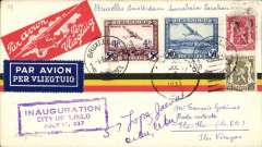 (Belgium) Sabena special flight to inaugurate Iloilo City, Philippines, bs 21/6, via Hong Kong 17/6, and redirected to Cebu 10/7, black/red/yellow Sabena airmail cover franked 4F85, canc Bruxelles cds, violet framed inauguration cachet. Uncommon.