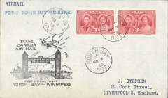 (Canada) TCA, F/F North Bay to Winnipeg, bs 2/3, plain cover franked 6c, black flight cachet.