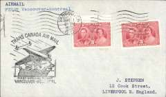 (Canada) TCA, F/F Vancouver to Montreal, bs 2/3, plain cover franked 6c, black flight cachet.