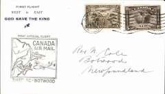 "(Canada) Pan Am FAM 18 F/F Shediac-Botwood, b/s, scarce blue/cream ""First Flight/West to East/God Save The King"" souvenir cover, franked 10c, official black cachet on front."