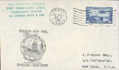 (Canada) F/F FAM 18 Northern Route, Shediac to New York, bs, plain cover franked 6c, large black, and green four line,  flight cachets on front, Pan Am.