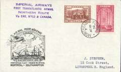 "(Canada) Imperial Airways F/F Montreal to Southampton, no arrival ds, plain cover franked 30c, official black flight cacher, violet four line ""Imperial Airways/First Transatlantic Airmail/Northern Route/via Eire, N'Fld & Canada""."