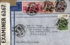 "(China) WWII censored air cover flown ""All the Way By Air"" from Chunking to England, no arrival ds, imprint etiquette cover franked $6.15, typed ""Air Mail Via USA"", sealed B&W OBE 6267 Caribbean censor tape. Correctly rated for carriage by air from China to Hong Kong by CNAC, Pan Am FAM 14 to San Francisco, US internal air service to New York, Pan Am FAM 18 to Lisbon, then by European airline to destination. Nice item."