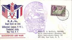 (Netherlands Antilles) KLM, F/F Curacao to New York, no arrival ds, souvenir company cover franked 35c, large green flight cachet, tied by violet Curacao censor mark.