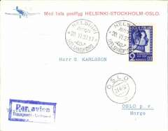 (Finland) F/F  Helsinki to Oslo, r21/6 arrival ds on front, red/white souvenir cover franked 2M, postmarked Herlsinki Avion 20.VI 37 cds, special Stockholm transit ds vberso.