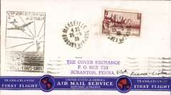 (France) Pan Am F/F Marseilles to Lisbon 25/5, scarce BLACK cachet, attractive red/white/blue souvenir air cover from France.