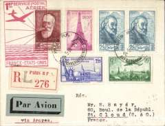 (France) F/F FAM18 Southern Atlantic route, Marseilles to Horta (Azores), b/s 29/5,  registered (label)  cover with very attractive F8.50 franking, red flight cachet, Pan Am. Francis Field authentication  hs verso.
