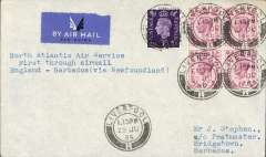 """(Barbados) Rare acceptance of mail from from Great Britain for Barbados, Liverpool to Bridgetown, bs 6 Jly 39, for carriage on the F/F Pan Am North Atlantic service via Newfoundland and New York, 1/7 transit cds, airmail etiquette cover franked  2/3d canc Liverpool 29 Jul, 39 cds, typed """"North Atlantic Air Service/First Through Airmail/England-Barbados (via Newfoundland)"""". A truly scarce item in fine condition."""