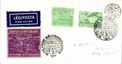 (Hungary) F/F, Budapst to Szolnok, 22/8 arrival ds on front, airmail etiquette cover franked 10F, special dated depart cancellation, special orange and green vignettes.