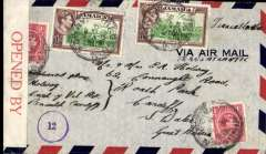 "(Jamaica) WWII censored air cover flown ""All the Way By Air"" from Kingston to GB, no arrival ds, airmail cover franked 2 x 1/- (one has perf defects on rh side) + 2d, canc Kingston/Jamaica cds, sealed red/white Jamaica censor tape, also violet '12' in circle Jamaica censor mark. Correctly rated for air to US, air in US to New York, Pan Am FAM 18 to Lisbon, and European airline to GB. WWII censored airmail from Jamaica is uncommon."