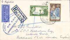 "(Jamaica) First acceptance of mail from Jamaica for the 'All Air' service to Europe, for carriage on the  F/F FAM 18 Southern( North) Atlantic route, New York-Marseilles, registered (label) cover franked Jamaica 2/3d, canc Kingston, Jamaica registered oval postmark, official oval blue ""First Transatlantic/Air Mail/Jamaica to Europe/June 1 1939"" cachet tying blue/dark blue airmail etiquette. Jamaica dispatches were not accepted until June 1st."