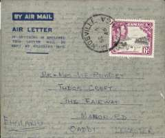 (Jamaica) BSAA, Britsh South American Airways, first direct Jamaica-London service via Bermuda, air letter franked 6d, postmarked Mandevile cds, 60% strike violet boxed 'Air Mail/First Flight/Jamaica-London-via Bermuda/Via  Speed man' cachet. Believed only 12 flown. See p22, Beith R.
