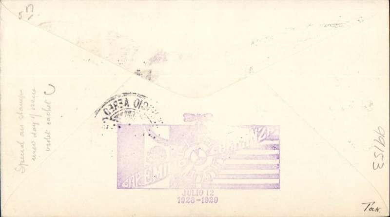 (Mexico) Special Flight in Memory of Emilio Carranza who crashed in New Jersey, green/cream printed souvenir cover franked 5, 10, 15, and 20c of FDI of the first anniverary of Carranza's death , special purple flight cachet verso, flown to New York.