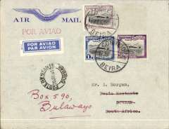 (Mozambique) South Africa Airways, Beira to Durban, 20/7 arrival ds on front, blue/grey Imperial Airways with winged logo embossed on front, franked 3E50 canc Correo Aereo Beira cds, red 'Por Aviao' hs, white/blue M/13 etiquette.This cover was carried on the first return of the first regular Beira to Johannesburg mail only feeder service which connected at Durban with the Imperial Airways Southampton-Durban flying boat service to expedite the mail to England.  See Airmails of Portuguese East Africa, Stern M.F., Airpost Journal, Nov 1968, p152.