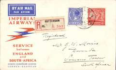 (Netherlands) Netherlands acceptance for Imperial Airways F/F regular service from England to South Africa, bs Rotterdam to Simonstown 3/2, via Alexandria 23/1 and Cape Town 2/2, registered (label) orange/blue Springbok souvenir cover franked 52 1/2c.