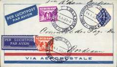 "(Netherlands ) Haye Peace Conference, special flight from Amsterdam to Bordeaux, via Paris, bs Gare du Nord 14/1, Aeropostale imprint etiquette cover franked 4c, 1 1/2c, and 2c (damaged), all tied with special Peace Conference/14.1.30 postmark, fine strike violet ""Consulat de Payes-Bas/Bordeaux"" receiver verso."