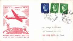 (Netherlands) F/F FAM 24, Amsterdam to New York, bs 22/2, official red/cream souvenir cover franked 92 1/2c,  American Overseas Airlines,