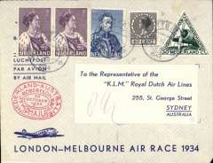 "(Netherlands) MacRobertson Air Race, Holland to Australia, bs 26/10, also oval double ring KLM commemorative arrival cachet verso ""Royal Dutch Airways/KLM Liner 'Uiver' arrived at Melbourne 10.54am, Wednesday 24/10/34"", franked 82 1/2c + special triangular stamp, canc Rotterdam 18/10, oval red race cachet, KLM printed souvenir race cover, flown by Parmentier and Moll."