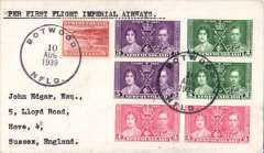 """(Newfoundland) Scarcer Imperial Airways F/F Transatlantic Service, Botwood to England, no arrival ds, plain cover franked 30c, typed """"Per First Flight Imperial Airways"""".  Only a few exist as most were flown out by PAA Northern service to arrive in time."""