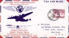 (Newfoundland) Imperial Airways F/F Transatlantic Service, St Johns to New York, bs 6/8, attractive red/white blue 'Sportsman's Paradise' souvenir airmail cover with printed details of route, franked 15c.