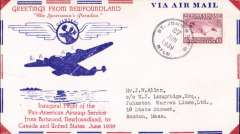 (Newfoundland) Pan Am, F/F Transatlantic Service, St Johns to New York, bs 6/8, attractive red/white blue 'Sportsman's Paradise' souvenir airmail cover with printed details of route, franked 15c.