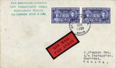 """(Newfoundland) F/F FAM 18  Northern Route, Botwood  to Shediac, bs 1/7, and on to Montreal, bs 3/7, plain cover franked 10c, green four line """"Pan American Airways/First Transatlantic Airmail/Northern Route/via Canada, N'Fld & Eire"""", attractive red/black airmail etiquette."""