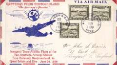 (Newfoundland) Pan Am, F/F Transatlantic Service, St Johns to England, bs Liverpool 30/6, attractive red/white blue 'Sportsman's Paradise' souvenir airmail cover with printed details of route, franked 15c.