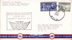 """(Newfoundland) Imperial Airways F/F Transatlantic Service, Botwood to Foynes, bs 11/8, attractive airmail cover franked 30c, typed """"Botwood to Foynes/First Flight via Caribou""""."""