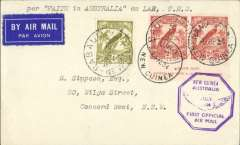 "(Papua and New Guinea) F/F New Guinea to Australia, Namatana 6/6, via 3/7 and Lae 30/7 to Sydney 1/8, airmail etiquette cover franked New Guinea 4d and 2d x2 Bird of Paradise stamps, purple hexagonal"" New Guinea July 1934 F/F  Official Air Mail"" cachet, typed endorsement "" per Faith in Australia ex Lae, TNG""."