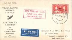 (New Zealand) Capt. Musik, Pan Am 'Samoa Clipper', Trans-Pacific Survey Flight #2, New Zealand to Pago Pago, bs 1/1/38, souvenir cover, franked 6d, canc Auckland 31/12 cds, red framed fight cachet. 31st Dec is last known date and is relatively scarce.