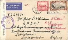(New Zealand) World War II censored two ocean sea/air cover to England, correctly franked 3/6d for sea to Panama, air to Miami and New York, air by Pan Am FAM18 to Lisbon (see Boyle p877), and onward to UK. Pale grey airmail etiquette cover, postmarked Auckland machine cancel, sealed black/white New Zealand censor tape tied by purple circular NZ/5 censor mark.