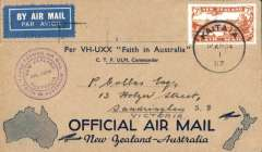 (New Zealand) Kaitaia-Sydney  Trans Tasman Flight VH-UXX, Kaitaia to Sydney, bs 14/4, buff/dark blue souvenir 'maps of Australia & New Zealand souvenir cover, franked 7d air, violet circular 'April' flight cachet, blue/white etiquette.