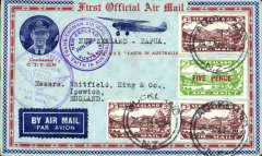 (New Zealand) Kaitaia-Sydney  Papua-New Guinea & Return Flight to Australia, red/blue/dark blue souvenir cover with inset of Ulm, franked 7d NZ 3d air x3 and 5d air opt, canc Auckland 26/6, b/s Sydney 2/7 and Kaitaia 2/7, violet circular 'Jun 1934 Trans Tasman' flight cachet and 'Australia-Papua/New Guinea Jul 1934' cachets on front, and violet hexagonal 'Papua-Australia Jul 1934' cachet verso, blue/white etiquette. Attractive item.