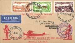(New Zealand) Kaitaia-Sydney  Papua-New Guinea & Return Flight to Australia, red/buff 'Faith in Australia' cover franked 7d,3d, 5d opt airs, canc Auckland 25/6 cds,b/s Sydney 2/7 and Lae 27/7, and Kaitaia 2/7 arrival ds on front, violet circular 'Jun 1934 Trans Tasman' flight cachet on front and violet 'Australia-Papua/ New Guinea Jul 1934' and violet hexagonal 'Papua-Australia Jul 1934' cachets verso, blue/white etiquette.