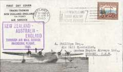 "(New Zealand) Auckland-London, carried on the inaugural flight flying boat ""Aotearoa"" from Auckland to Sydney, then Qantas/BOAC to London, no arrival ds, large framed flight cachet, souvenir ""First Trans-Tasman/New Zealand-England/via Sydney/Air Service"" franked 1/6d, sealed NZ censor tape, tied by green circular NZ/7 censor mark. This service was suspended in June 1940 when Italy joined the war."