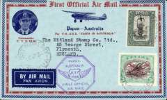 "(Papua and New Guinea) Ulm and Allan's return flight in ""Faith in Australia,"" flown from Port Moresby to Sydney 1/8, attractive red/blue/pale blue souvenir cover with decorative border and inset picture of Commander CTP Ulm, franked 5d and 3d Papua air stamps, violet octagonal flight cachet."