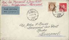 "(Norway) Norway acceptance for KLM F/F 7th GB Inland Airmail Service, Amsterdam-Liverpool, no arrival ds, plain cover franked 22 ore, canc Oslo 31/5 cds, ms ""Mes 1ste Flyvepost 1 Juni 1934/Oslo-Amsterdam-Liverpool"", black/pale blue airmail etiquette. Scarce."
