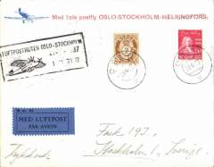 (Norway) F/F Oslo to Stockholm, bs 22/6, red/cream souvenir cover franked 22 oro, black framed 'Oslo-Stockholm' flight cachet, airmail etiquette.