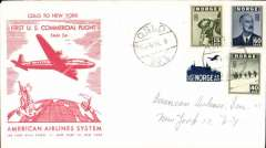 (Norway) F/F FAM 24, Oslo to New York, bs 8/4, official red/cream souvenir cover franked 115 ore  American Overseas Airlines,