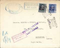 "(Spain) Spanish Civil war cover, Las Palmas, Canary Islands to England, no arrival ds, plain cover franked 1P50 canc black 'Por Via Aerea/10 Dec 38/Las Pamas' postmark, violet two line ""Censura Militar/Las Palmas"" censor mark, red framed and blue framed ""Correo Aereo"" hs's."