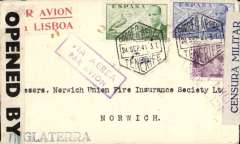 "(Spain) WWII dual censored airmail cover, Tenerife to England, no arrival ds, via Madrid 28/9 transit hexagonal postmark, plain cover franked 3P25 canc black hexagonal Correo Aereo/Tenerife/24.Sep.41 postmark, scarce red/white ""Por Avion/via Lisbon"" directional vignette, violet framed 'Via Aerea' hs, sealed grey/black Spanish Censura Militar/Santa Cruz de Tenerife, and B&W British OBE 721 censor tapes. Nice item."