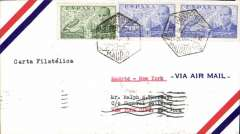 "(Spain) TWA, F/F alternate routing from Madrid to Rome, via Lisbon/Madrid,  Madrid to New York, bs 8/5, airmail cover franked 4P. Verso violet framed hs ""Embassy of the United States of America/Apr 25 1946/Madrid""."