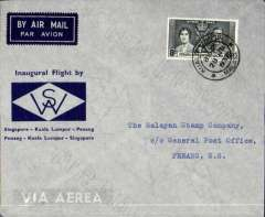 (Straits Settlements) First internal airmail, Singapore to Penang, bs 28/6, grey/dark blue souvenir cover franked 8c, Wearne's Air Services