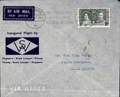 (Straits Settlements) Wearne's Air Services, first internal airmail, Penang to Kuala Lumpur, bs 28/6, printed blue/grey souvenir company cover franked Straits Settlementts Coronation 8c, canc Singapore cds. Scarcer leg.