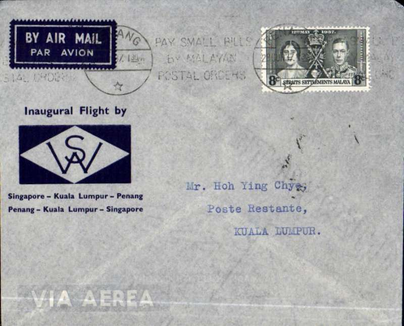 (Malaya) Wearne's Air Services, first internal airmail, Penang to Kuala Lumpur, bs 28/6, printed blue/grey souvenir company cover franked Straits Settlementts Coronation 8c, canc Singapore cds. Scarcer leg.