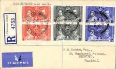 (Christmas Island) Registered (label) airmail etiquette cover to England, bs Bedford 29/12 oval arrival ds, via Singapore 16/12, franked Coronation set of three x2, with very fine 'Christmas Island' cds.